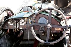 Image of Pictures of Wooden Dashboard of a Vintage and classic car at Pembrey race circuit 2012