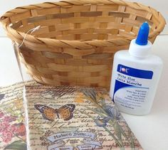 Use napkins and white glue to decoupage a Dollar Store basket into something gorgeous!