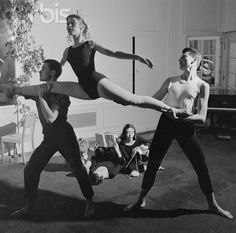 Bennington College Dance Group Rehearsing while a knitter looks on. 1956