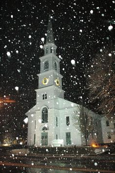 Beautiful Winter Scene... snow softly falling, classic lighted white clapboard church. quintessential Vermont and New England: Main Street, Downtown Brattleboro.   This (and skiiing) are why people come to Vermont for Christmas!