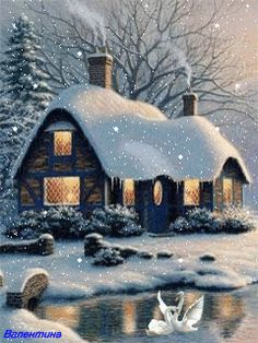 <3 Smoke from the chimney's beckon friends to find refuge from the cold. <3