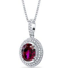 Women's Sterling Silver Pave Oval Halo Ruby Pendant Necklace | eBay