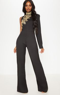 ec884adbe61a Black High Neck Embroidered Asymmetric Sleeve Jumpsuit
