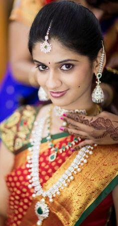 South Indian Bride in Beautiful Red Kanjivaram Saree with Diamond Jewelry
