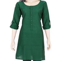 Green cotton kurta with front buttons @ 10% off. Free shipping in India. COD available. We deliver worldwide