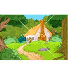 Cartoon forest cabin vector