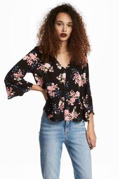 caba20b5c97f Blouse with flounces - Black Floral -