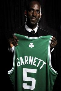 Kevin Garnett picked up by the Boston Celtics in 2007 after serving 12 years for the Minnesota Timberwolves.