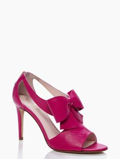 """Kate Spade Imelda Heels in Rio Pink $350 -   part leather bootie, part bow-topped party shoe MATERIAL nappa leather with covered heel FEATURES 3.5"""" heel"""