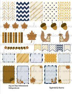 Printable Planner Stickers Kit Fall Squirrels & Acorns - Instant Digital Download