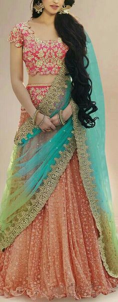 Indian fashion has changed with each passing era. The Indian fashion industry is rising by leaps and bounds, and every month one witnesses some new trend o Half Saree Lehenga, Lehnga Dress, Indian Lehenga, Anarkali, Half Saree Designs, Lehenga Designs, Indian Attire, Indian Ethnic Wear, Sangeet Outfit