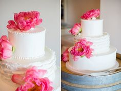 Beautiful wedding cake. I would use peach colored peonies instead though. #wedding #cake
