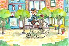 The Cat's Morning Ride Greeting Card by KuriCorvid on Etsy, $4.50