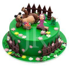 Amé este personajito! Masha y el oso. Aquí, en decorando una Torta de cumpleaños. *** Masha and the bear,b-day cake.