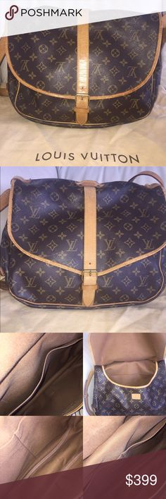 "💯Authentic Louis Vuitton Saumur 35 vintage bag Beautiful large cross body vintage! Leather straps and trims have cracks, dirty stains, got darker over the years and show wear. Inside is very clean. Monogram canvas is intact, no rips or tears. Measurements: 14W x 12H x 7.9D"" - Made in France in July, 1993 - Date code: AR0973 - comes with dust bag - check pictures for signs of wear. 100% Authentic Louis Vuitton Bags Crossbody Bags"