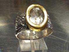 zilveren ring met 24krt gouden zetting