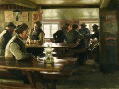 Peter Krøyer (Danish, 1851 - 1909) was a member of the Skagen School, a group of nineteenth-century painters who worked by the sea on the northern tip of Denmark every summer. He created this scene of fishermen gathered in a tavern in Skagen for John G. Johnson of Philadelphia, an eminent lawyer and avid art collector. Johnson, who rarely commissioned works from living artists, purchased a number of Scandinavian paintings with the assistance of Alexander Harrison, a Philadelphia-born marine…