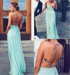 Simple long prom dress, cheap chiffon prom dress, open back sexy prom dress, on sale prom dress, hot summer prom dress, beach prom dress