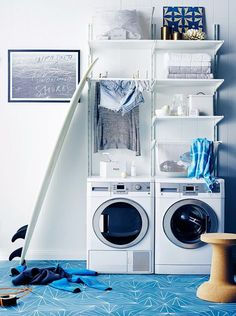 Ocean hues teamed with fresh white is the perfect scheme for a coastal laundry. Customisable IKEA Algot shelving utilises the available wall space, keeping the room neat and tidy Laundry Closet Organization, Ikea Laundry Room, Ikea Closet Organizer, Laundry Room Cabinets, Laundry Room Design, Closet Storage, Boot Storage, Diy Storage, Organization Ideas