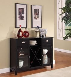 King's Brand WR1242 Wood Wine Rack Console Sideboard Table with Drawers and Storage, Black Finish by King's Brand. $195.99. Measures 42-inch length by 12-inch width by 31-inch height. Made of solid wood. Wine rack console sideboard table with drawers and storage. Comes in two top drawers, two glass doors and wine rack. Available in black finish. This wine rack console sideboard table with drawers and storage made of solid wood. Comes in two top drawers, two glass doo...
