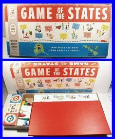 Vintage 1960 Milton Bradley GAME OF STATES Educational Board Game