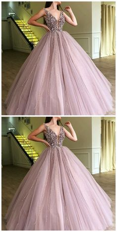 Ball Gown Lavender Tulle Prom Dress With Beading, Deep V-Neck Long Prom Party Dresses Ballkleid Lavendel Tüll Ballkleid mit Perlenstickerei, tiefer V-Ausschnitt Lange Ballkleider Pretty Quinceanera Dresses, Pretty Prom Dresses, Sweet 16 Dresses, Tulle Prom Dress, Ball Gown Dresses, Prom Party Dresses, Elegant Dresses, Beautiful Dresses, Evening Dresses