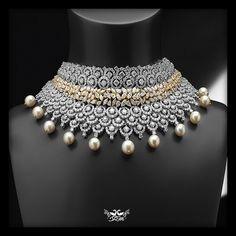 Gorgeous Diamond necklace from Shree Raj Mahal Jewellers #wedding #indianwedding #diamonds #designerbridaljewellery