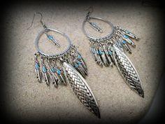 Feather earring turkish earringbohemian by FabJeweLLerYY on Etsy