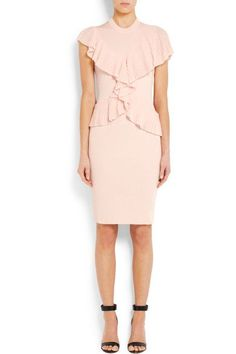 Pale-pink ribbed-knit Ruffled panels Concealed zip fastening along side 85% viscose, 12% polyamide, 3% elastane; trims: 74% viscose, 26% polyester Dry clean Made in Italy