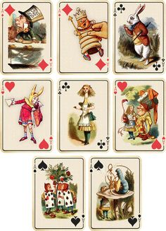 Vintage inspired Alice in Wonderland ivory playing cards tags ATC altered art 8 in Home & Garden, Greeting Cards & Party Supply, Greeting Cards & Invitations   eBay