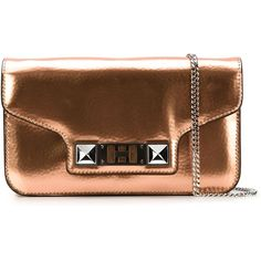 Proenza Schouler PS11 Clutch (41,925 THB) ❤ liked on Polyvore featuring bags, handbags, clutches, metallic, brown purse, leather handbags, metallic purse, chain strap purse and metallic clutches