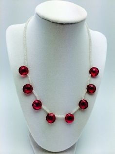 precious stone necklace white & pink 991