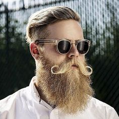 Long Beard with Curled Mustache