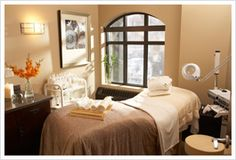 An Esthetician room.  I would love a room like this to do skincare treatments on clients.