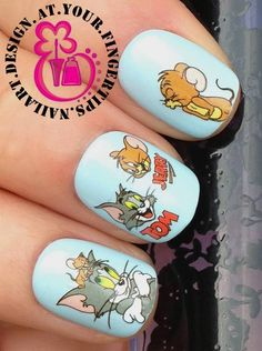 NAIL ART WATER TRANSFERS STICKERS DECALS DECO SET TOM & JERRY MOUSE FIGURES #464    eBay