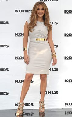 The singer glams up her neutral Gucci dress with pops of gold at the launch of their lifestyle brand for Kohl's.