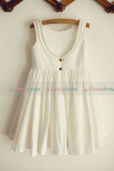 Ivory Cotton Flower Girl Dress Low Back Ruffle by annashome - this back is so cute.