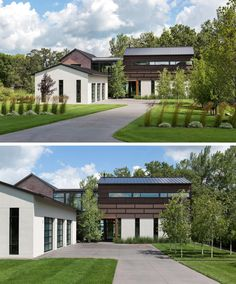 Backyard Landscaping Ideas - This industrial modern house, which is located next to a grove of 200 year old oak trees, has a landscaped front years with a driveway that leads to a garage. Old Oak Tree, Modern Garage, Minimalist Room, House Layouts, Modern Industrial, Modern House Design, Architecture Design, House Plans, New Homes