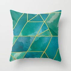 Faux gold emerald-toned throw pillow. Individually cut and hand-sewn pillow cover made from 100% spun polyester poplin fabric with a slight canvas texture. The design is printed on both sides and fini