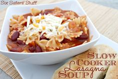 Slow Cooker Lasagna Soup on SixSistersStuff.com