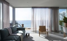 Room softened by sheer curtain that will reduce glare and visually signs of the sea breeze blowing in »« Mona Vale House
