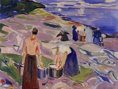 """Edvard Munch  """"Washing Clothes by the Sea"""", c. 1930"""