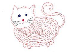 """""""El Gato"""" de Pablo Neruda. Caligrama de Ellie. M. Melara Tema: La Belleza y la Estetica"""
