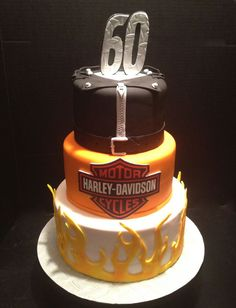 Harley Davidson birthday cake . All fondant. Harley logo is an edible image.