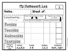 Kindergarten Homework: A Complete Year of Supplies, Logs,