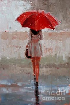 "This is one of my own paintings....I have a series of ""Umbrella Ladies""."