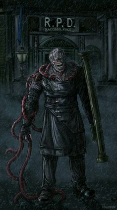 """""""The last rain in Raccoon City"""" Resident Evil Nemesis by Artwork done by another. l lone how the creatures almost have the appearance of their veins releasing themselves from the skin. Resident Evil 4 Ashley, Resident Evil Nemesis, Resident Evil 7 Biohazard, Resident Evil 3 Remake, Resident Evil Game, Video Game Art, Video Games, Resident Evil Collection, Evil World"""