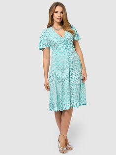 Kimono Sleeve A-Line Dress In Turquoise by London Times,Available in sizes 10/12,14W/16W,18W/20W,22W/24W and 26W
