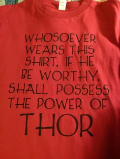 The Power of Thor Shirt  for men by kayleeksauvey on Etsy, $25.00