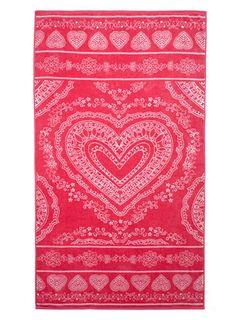 pink boho henna heart extra large beach towel - Large Beach Towels